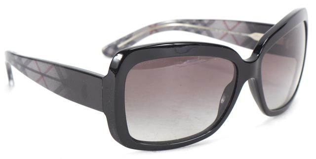 BURBERRY Black House Check Acetate Large Rectangular Gradient Lens Sunglasses