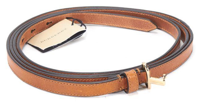 BURBERRY Tan Brown Gold Tone Hardware Skinny Double Wrap Belt