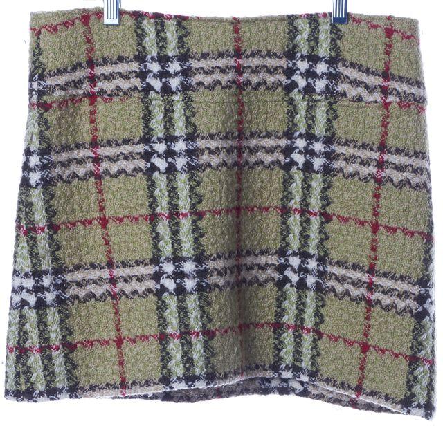 BURBERRY Green House Check Wool Tweed Mini Skirt