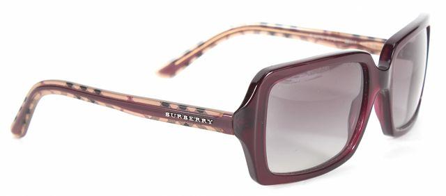 BURBERRY Burgundy Plaid Acetate Gradient Lens Square Sunglasses
