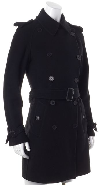 BURBERRY Wool Black Waist Strap Mid Length Peacoat