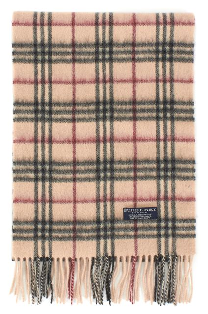 BURBERRY Beige House Check Wool Fringe Scarf