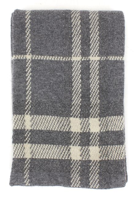 BURBERRY Gray Plaids & Checks Cashmere Scarf One Size