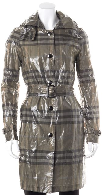 BURBERRY Gray Beige House Check Snap Front Hooded Belted Raincoat