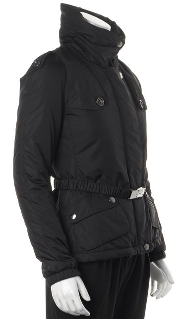 BURBERRY Black Hooded Zip-Up Belted Puffer Coat