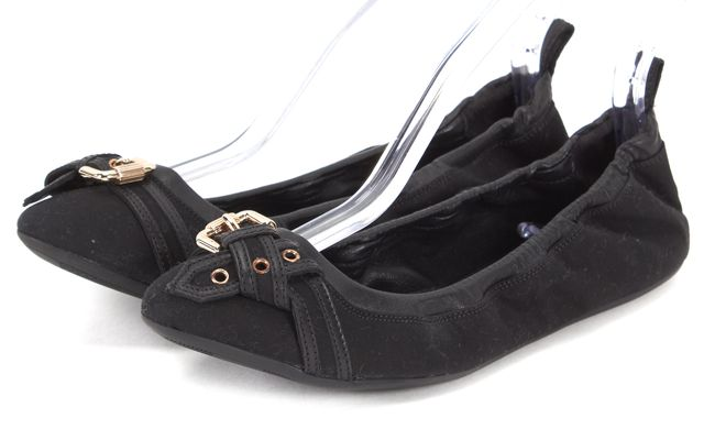 BURBERRY Black Canvas Buckle Cap Toe Elastic Flats