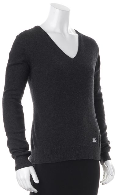 BURBERRY Gray Wool V-Neck Embossed Elbow Patch Sweater