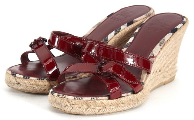 BURBERRY Red Patent Leather Slip On Espadrille Wedges