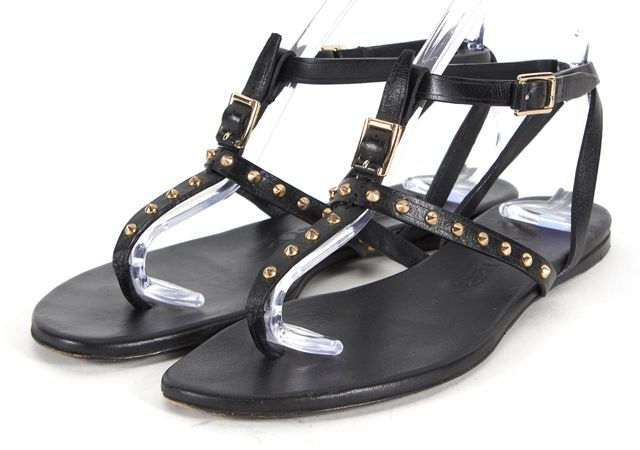 BURBERRY Black Leather Gold Studded T-Strap Flat Sandals