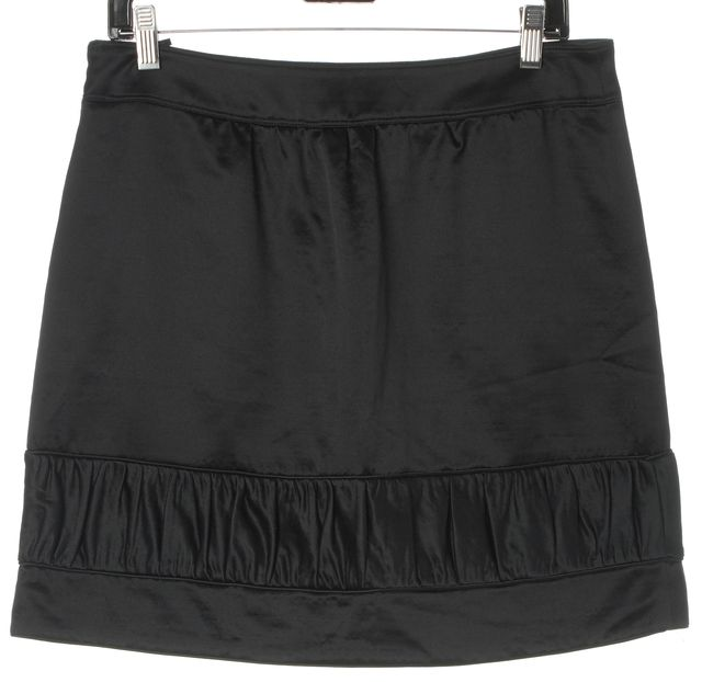 BURBERRY Black Wool Silk Satin Pleated Hem Slim A-Line Mini Skirt