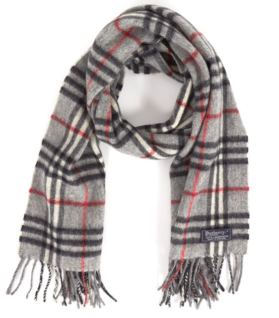BURBERRY Gray Red Beige Plaid House Check Lambswool Scarf