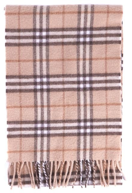BURBERRY Beige Brown Plaid House Check Lambswool Scarf