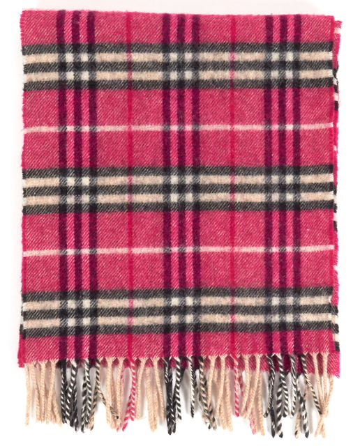 BURBERRY Pink Beige Black House Check Lambswool Scarf
