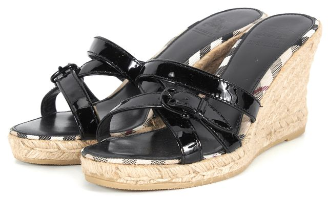 BURBERRY Black Patent Leather Espadrille Sandal Wedges