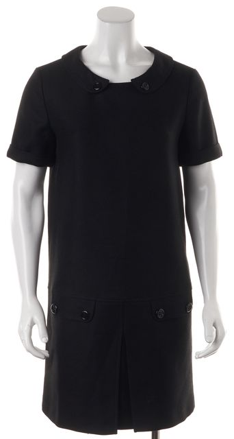 BURBERRY Black Wool Short Sleeve Peter Pan Collar Shift Dress