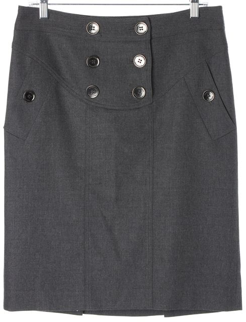 BURBERRY Gray Button Front Knee-Length Straight Skirt