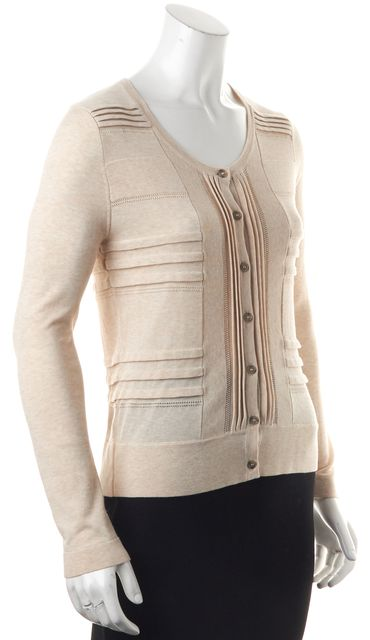 BURBERRY Beige Perforated Trim Button Front Cardigan