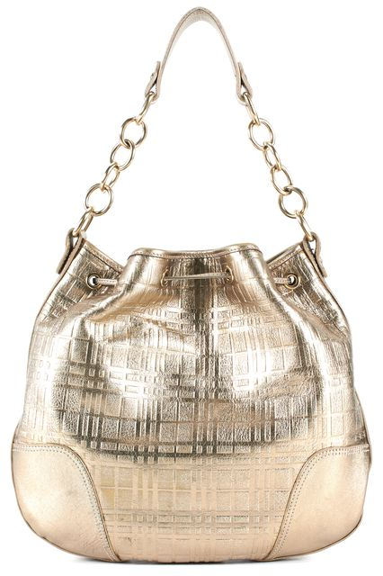 BURBERRY Gold Leather Drawstring Chain Link Strap Shoulder Bag