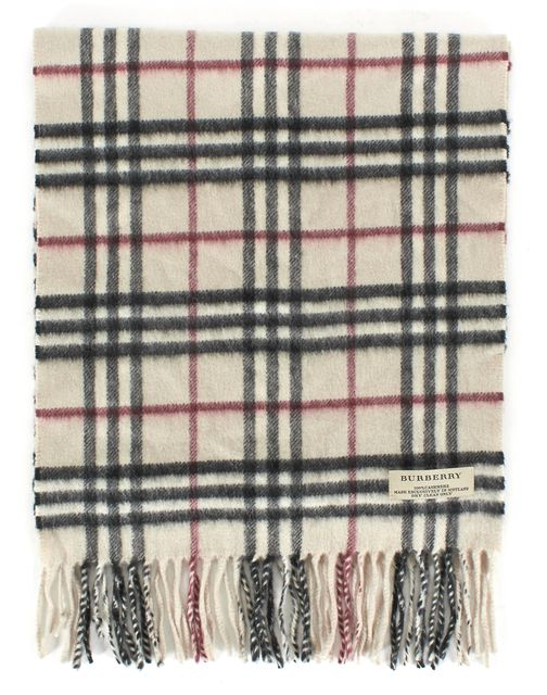BURBERRY Beige House Check Cashmere Fringe Trim Scarf