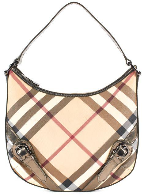 BURBERRY Beige Bronze Nova Check Coated Canvas Leather Trim Shoulder Bag