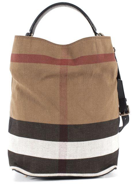 BURBERRY Beige House Check Jute Canvas Bucket Shoulder Bag