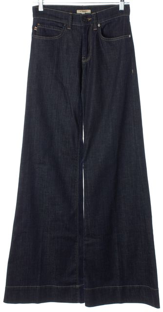 BURBERRY Blue Stretch Cotton Dark Wash Mid-Rise Wide Leg Jeans