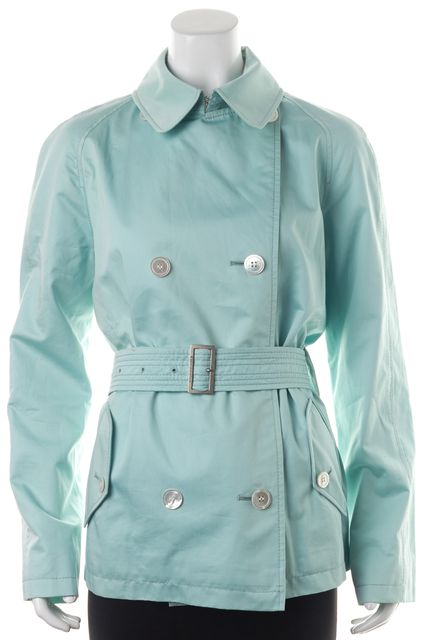 BURBERRY Light Blue Cotton Double Breasted Belted Short Trench Spring Coat