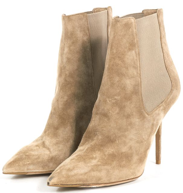 BURBERRY Beige Suede Pointed Toe Ankle Booties Heels