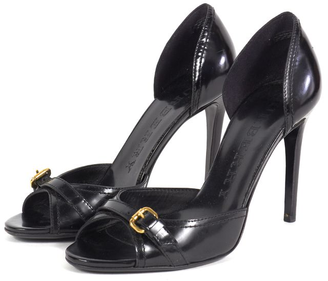 BURBERRY Black Leather Gold Tone Buckle Peep Toe Pumps Heels