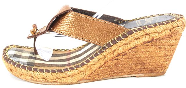 BURBERRY Bronze Brown Leather T-Strap Espadrille Sandal Wedges Side 39