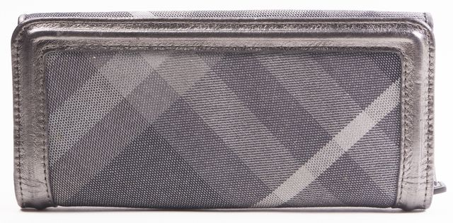 BURBERRY Metallic Gray Nova Check Canvas Leather Trim Continental Wallet