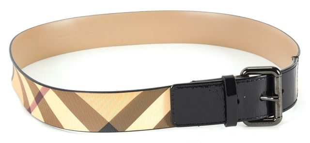 BURBERRY Beige Red House Check Coated Canvas Patent Leather Trim Belt