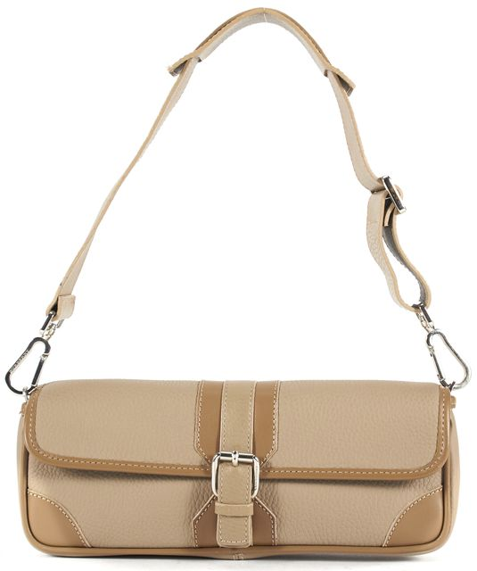 BURBERRY Beige Pebbled Grain Leather Small Shoulder Convertible Wristlet Bag