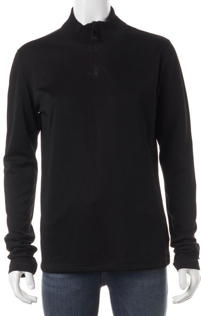 BURBERRY Black 1/2 Zip Pull Over Mock Neck Sweater Top
