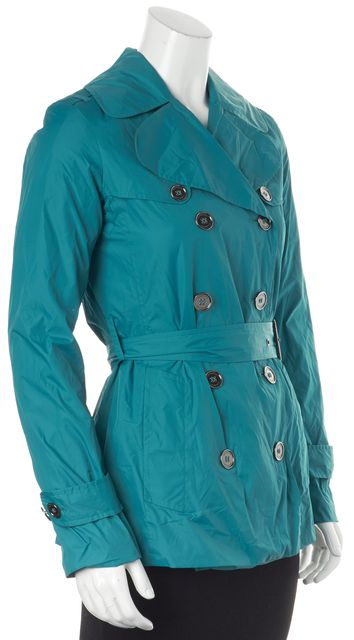 BURBERRY Teal Blue Belted Double Breasted Raincoat Jacket
