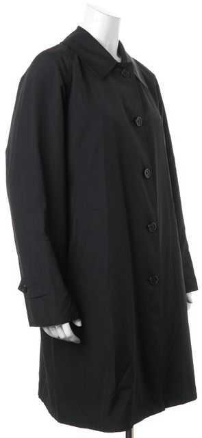 BURBERRY Black Long Button Down Raincoat Jacket