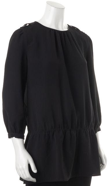 BURBERRY Black 3/4 Sleeves Epaulette Shoulder Trim Blouson Top