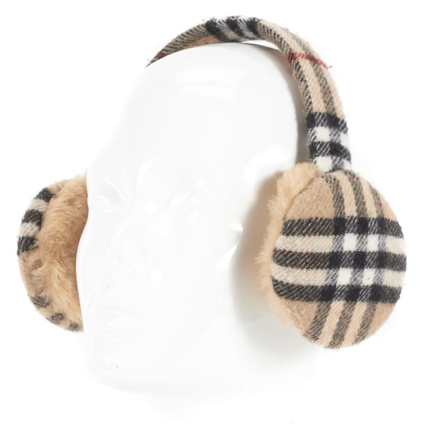 BURBERRY Beige Black Red Plaid House Check Earmuffs