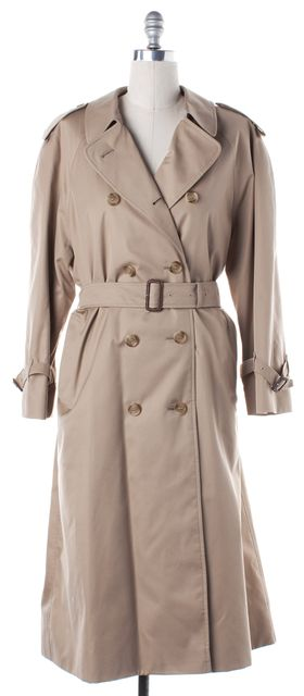 BURBERRY Beige Cotton House Check Lined Belted Long Trench Coat Jacket