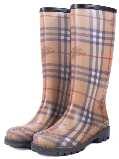 BURBERRY Beige Rubber Leather Trim Haymarket Rain Boots