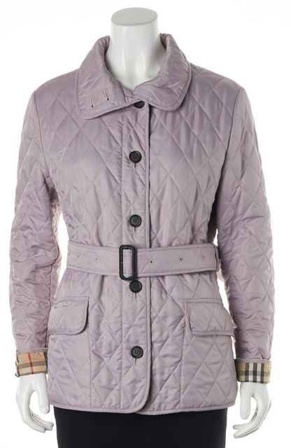 BURBERRY Periwinkle Purple Quilted Belted Basic Jacket