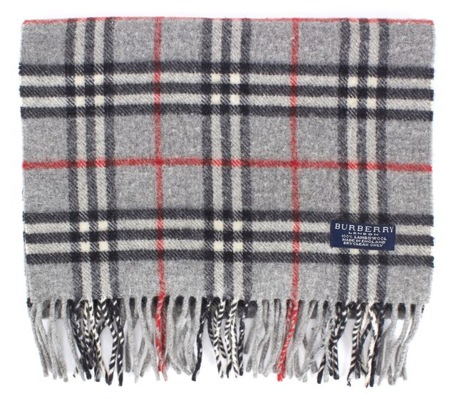 BURBERRY Gray Lambs Wool House Check Fringe Trim Winter Scarf