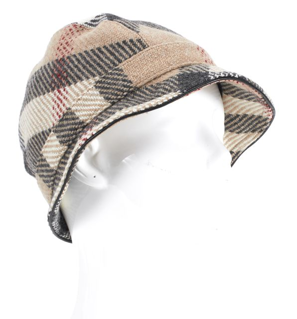BURBERRY Beige House Check Wool Black Leather Piping Bucket Hat