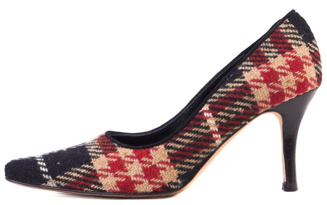 BURBERRY Black Red Beige House Check Wool Pointed Toe Heels