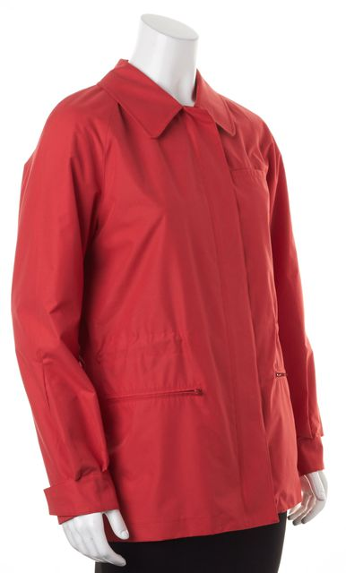 BURBERRY True Red Basic Zip-Up Rain Coat