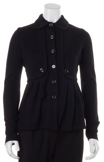 BURBERRY Solid Black Wool Button Up Peplum Cardigan