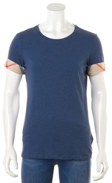 BURBERRY Navy Blue Heather Nova Check Cuff Sleeve T-Shirt