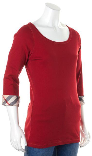 BURBERRY True Red Nova Check Cuffed Sleeve T-Shirt
