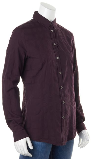 BURBERRY Deep Purple Maroon Long Sleeve Casual Button Down Shirt