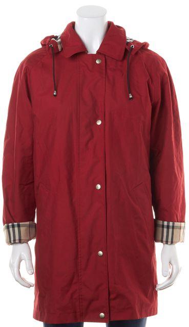BURBERRY Red Fleece Lined Hooded Zip Up Raincoat